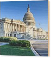 Powerful - Washington Dc Morning Light On Us Capitol Wood Print