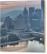 Morning Light Over The City Of Bridges Wood Print