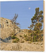 Morning Mammoth Moon Wood Print