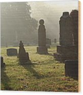Morning Mist At The Cemetery Wood Print