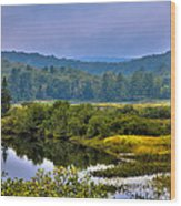 Morning Mist On The Moose River Wood Print by David Patterson