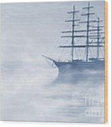 Morning Mists Cyanotype Wood Print
