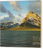 Morning Mountains At Many Glacier Wood Print