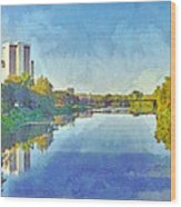 Towers On The Olentangy. The Ohio State University Wood Print