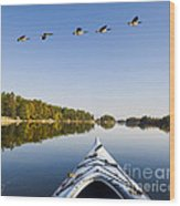 Morning On The Tranquil Lake Wood Print