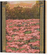 Morning Poppy Fields With Gold Leaf By Vic Mastis Wood Print by Vic  Mastis