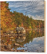 Morning Reflection Of Fall Colors Wood Print