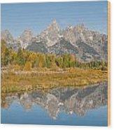 Morning Reflection Of The Teton Range Wood Print