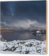 Morning Storm At Crater Lake Wood Print