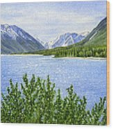 Morning Sun On Kenai Lake Wood Print by Sharon Freeman