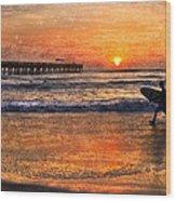 Morning Surf Wood Print by Debra and Dave Vanderlaan