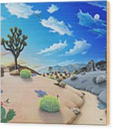 Joshua Tree Morning To Night Wood Print