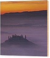 Morning Tuscan Mist Wood Print by Andrew Soundarajan