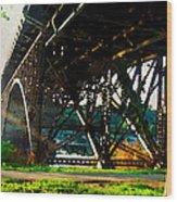 Morning Under The Bridge Wood Print