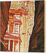 Morning View Of The Treasury From The Gorge In Petra-jordan  Wood Print