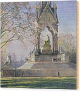 Morning Visitors To The Albert Memorial Oil On Canvas Wood Print
