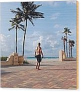 Morning Walk Along The Hollywood Beach Boardwalk Wood Print by Shawn Lyte