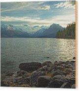 Mornings At Lake Mcdonald Wood Print by Stuart Deacon