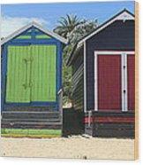 Mornington Beachboxes Wood Print by Rachael Curry