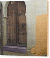 Morocco Old City Casablanca Wood Print by Ali ArtDesign