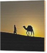 Morocco, Silhouette Of Berber Blue Man Wood Print