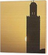 Morocco, Sun Setting Behind Minaret Wood Print