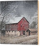 Morris County Red Barn In Snow Wood Print