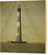 Morris Island Light Vintage Bw Uncropped Wood Print