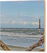 Morris Island Light With Driftwood Wood Print