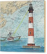 Morris Island Lighthouse Sc Nautical Chart Map Art Wood Print