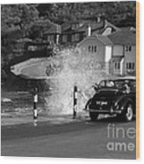 Morris Minor And The Wave Wood Print