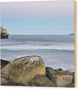 Morro Rock Morning Wood Print