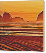 Morro Rock Painting Wood Print