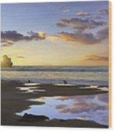 Morro Rock Reflection Wood Print