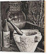 Mortar And Pestle Wood Print