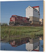 Train Reflection At Mortlach Saskatchewan Grain Elevator Wood Print by Steve Boyko