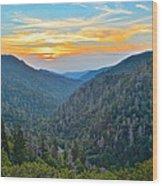 Mortons Overlook Smoky Mountain Sunset Wood Print