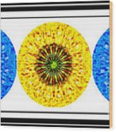 Mosaic Blue Circles With Yellow Wood Print