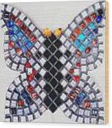 Mosaic Butterfly Wood Print by Lisa Brandel