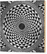 Mosaic Circle Symmetric Black And White Wood Print