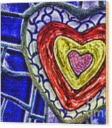 Mosaic Heart By Diana Sainz Wood Print