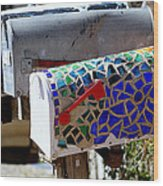 Mosaic Mailbox On The Turquoise Trail In New Mexico Wood Print