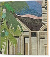 Mosaic Of Church With Palm Tree Wood Print