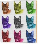 Mosaic Savannah Cat - 5462 F - M - Wb Wood Print