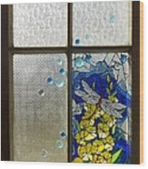 Mosaic Stained Glass - Dragonfly In The Window Wood Print by Catherine Van Der Woerd