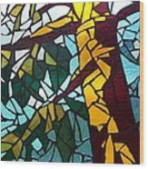 Mosaic Stained Glass - First Tree Wood Print by Catherine Van Der Woerd