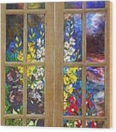 Mosaic Stained Glass - Flower Garden Wood Print by Catherine Van Der Woerd