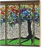 Mosaic Stained Glass - Roots Wood Print