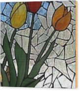 Mosaic Stained Glass - Spring Shower Wood Print