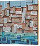 Mosaic Village 2 Wood Print